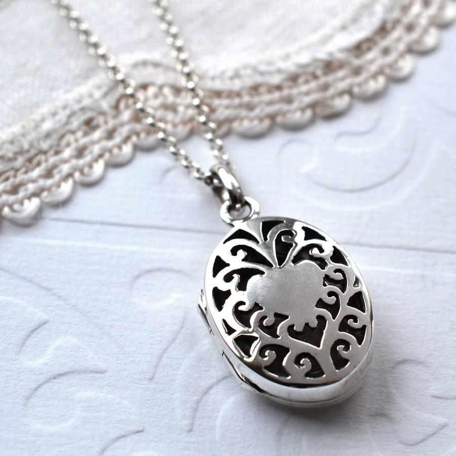 Silver Filigree Oval Locket