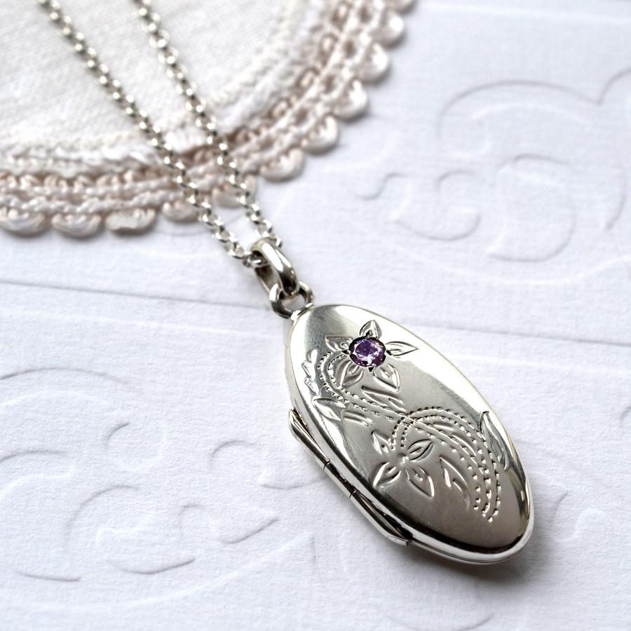 Silver Amethyst Oval Locket