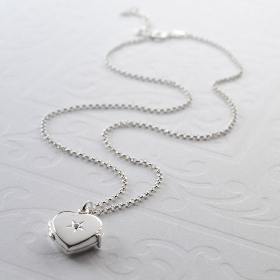 Silver Diamond Love Locket