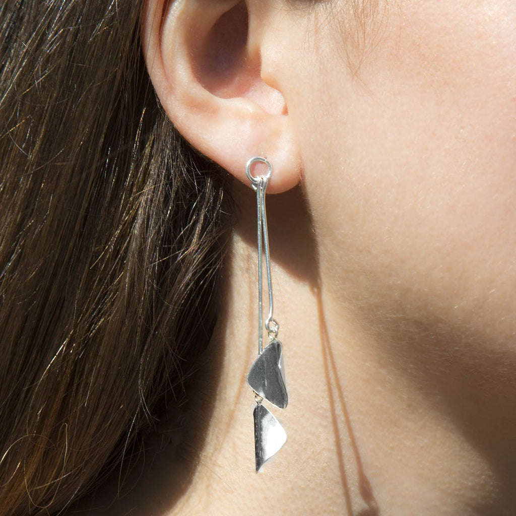 Silver Petal Earrings