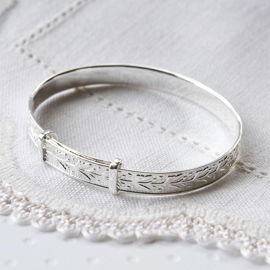 Silver Patterned Baby Bangle