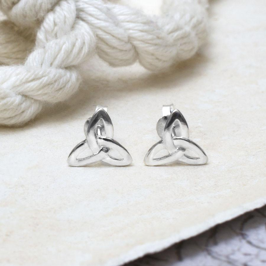 Silver Small Celtic Trinity Studs
