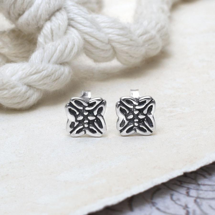 Silver Celtic Square Studs