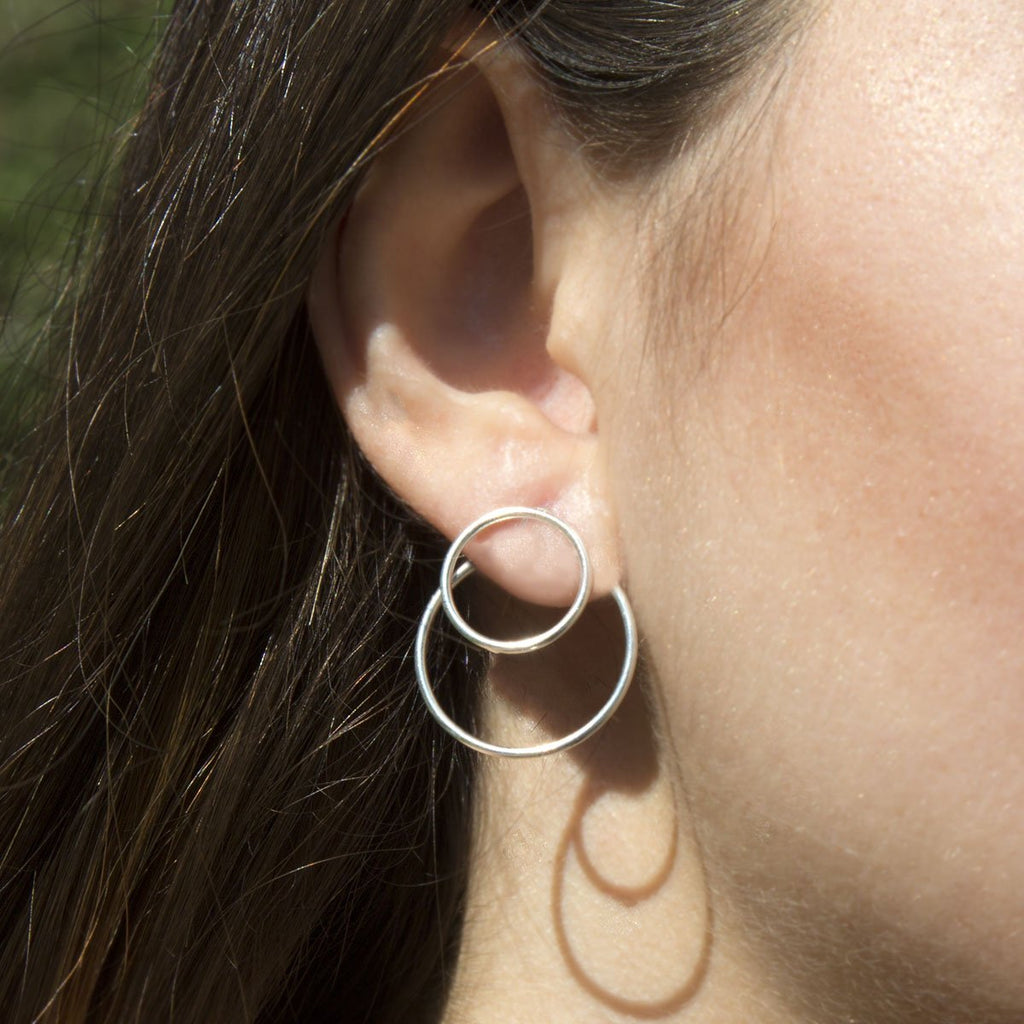 Silver Circles Two Way Earrings