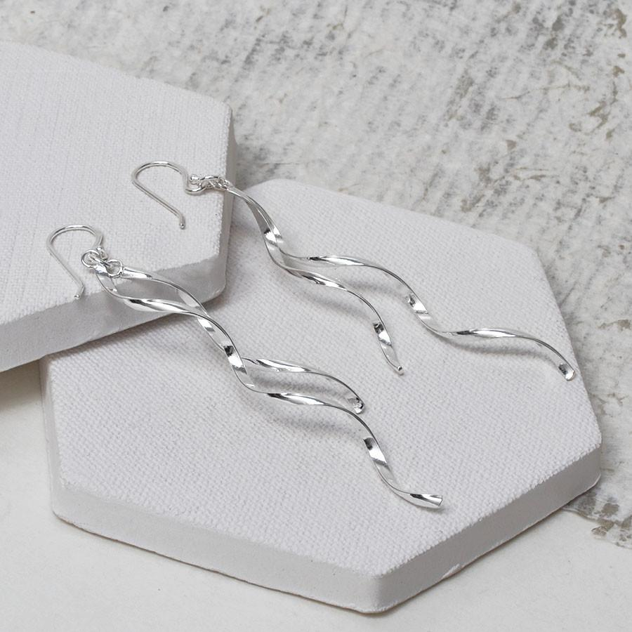 Silver Flowing Ribbon Earrings