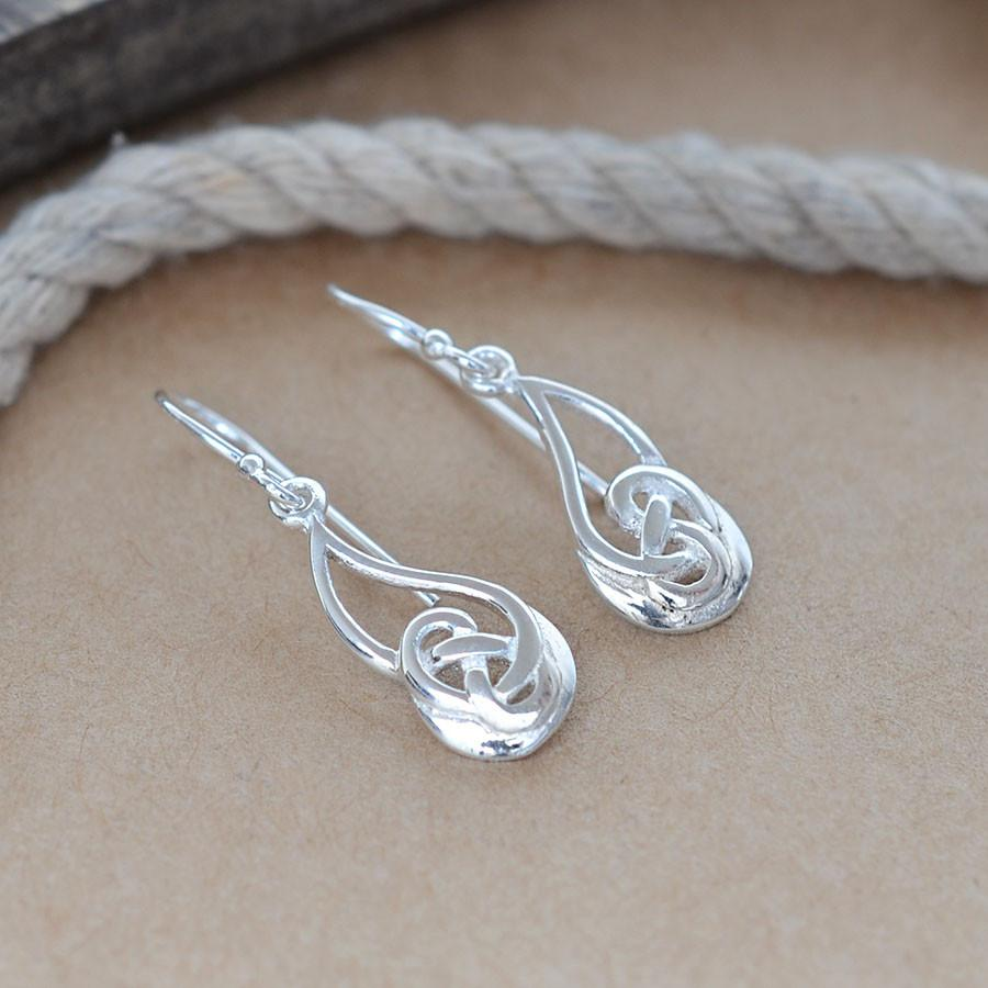 Silver Celtic Raindrop Earrings