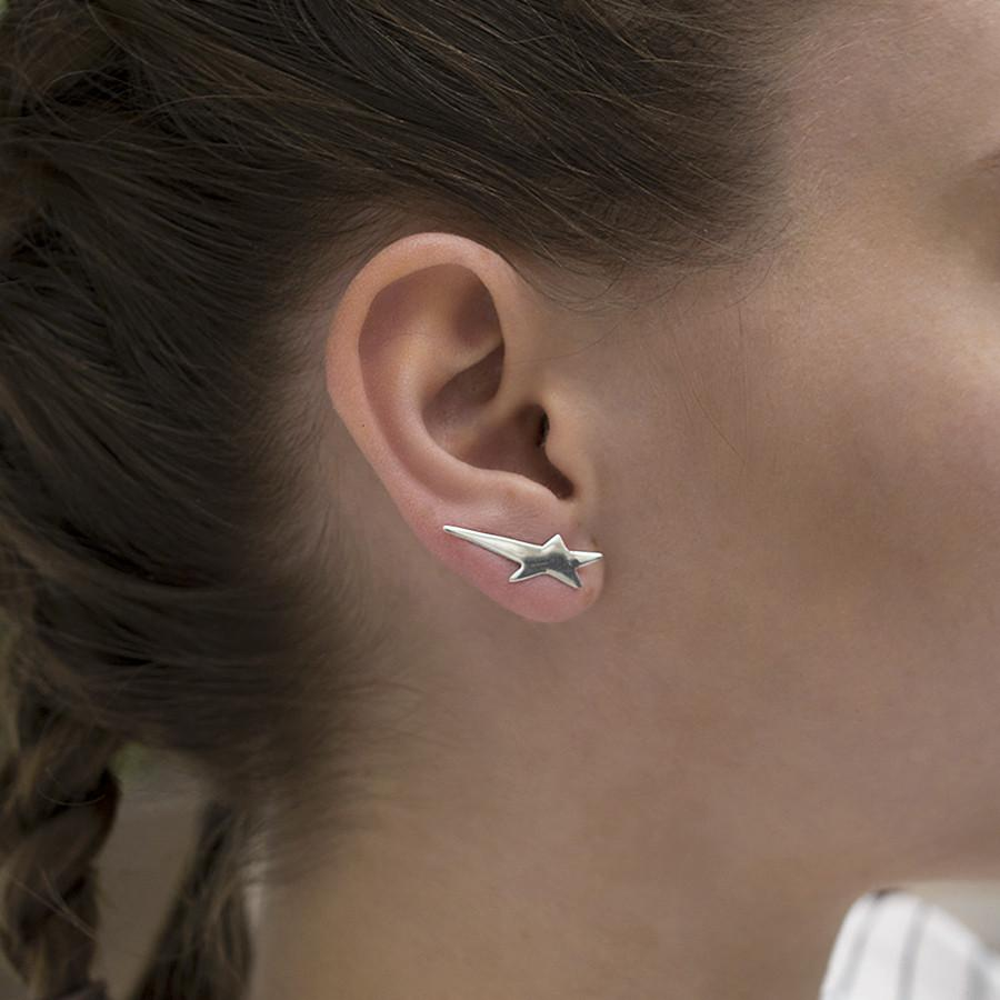 Silver Shooting Star Ear Climbers