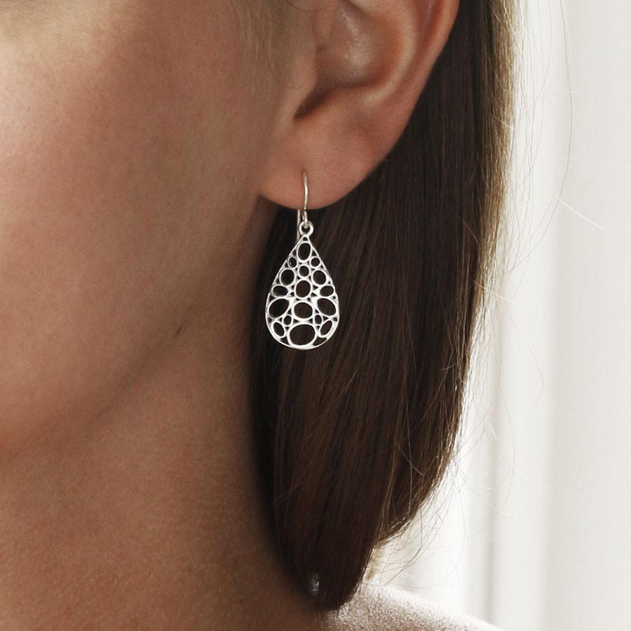 Silver Bubbles Teardrop Earrings