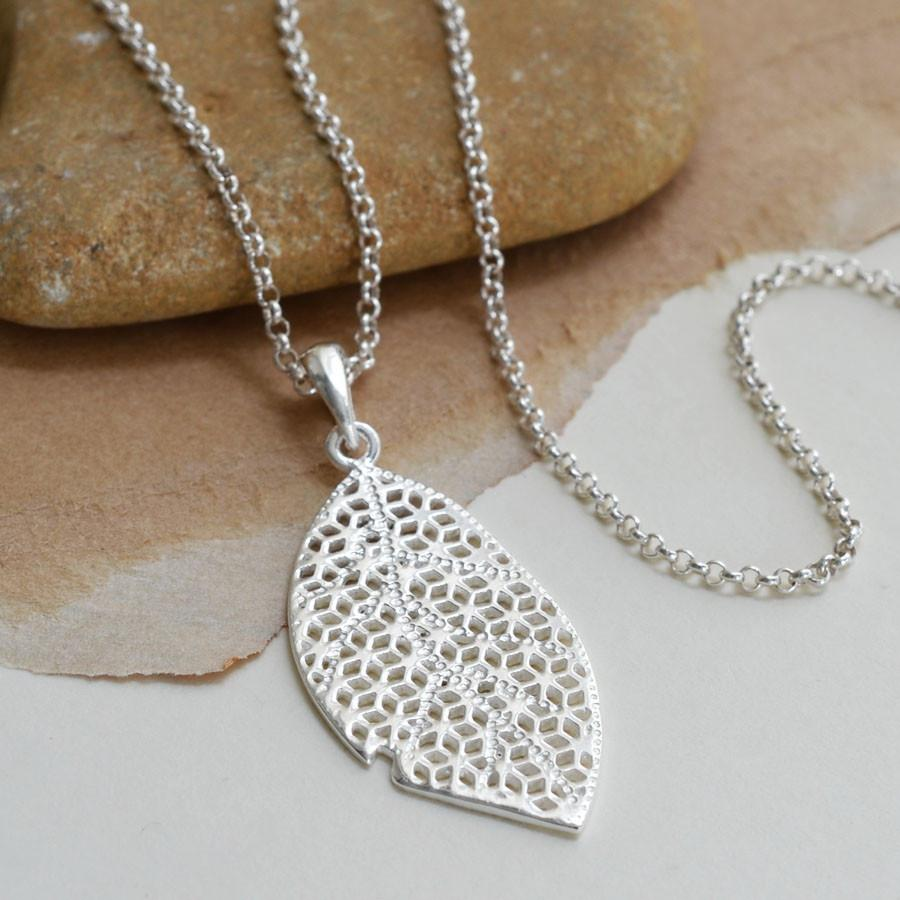 Silver Filigree Leaf Necklace