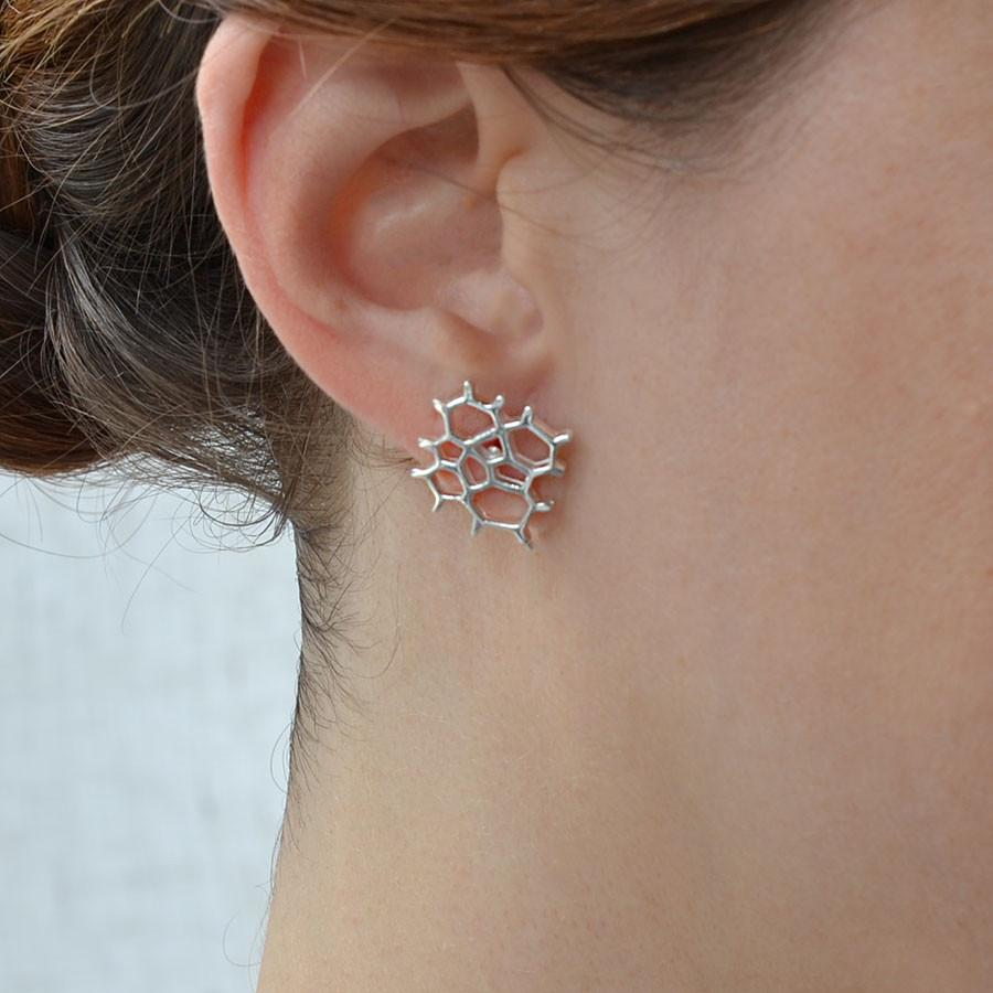 Silver Honeycomb Studs