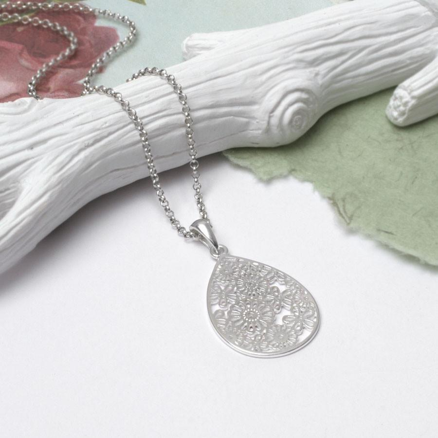 Silver Decoupage Flower Necklace