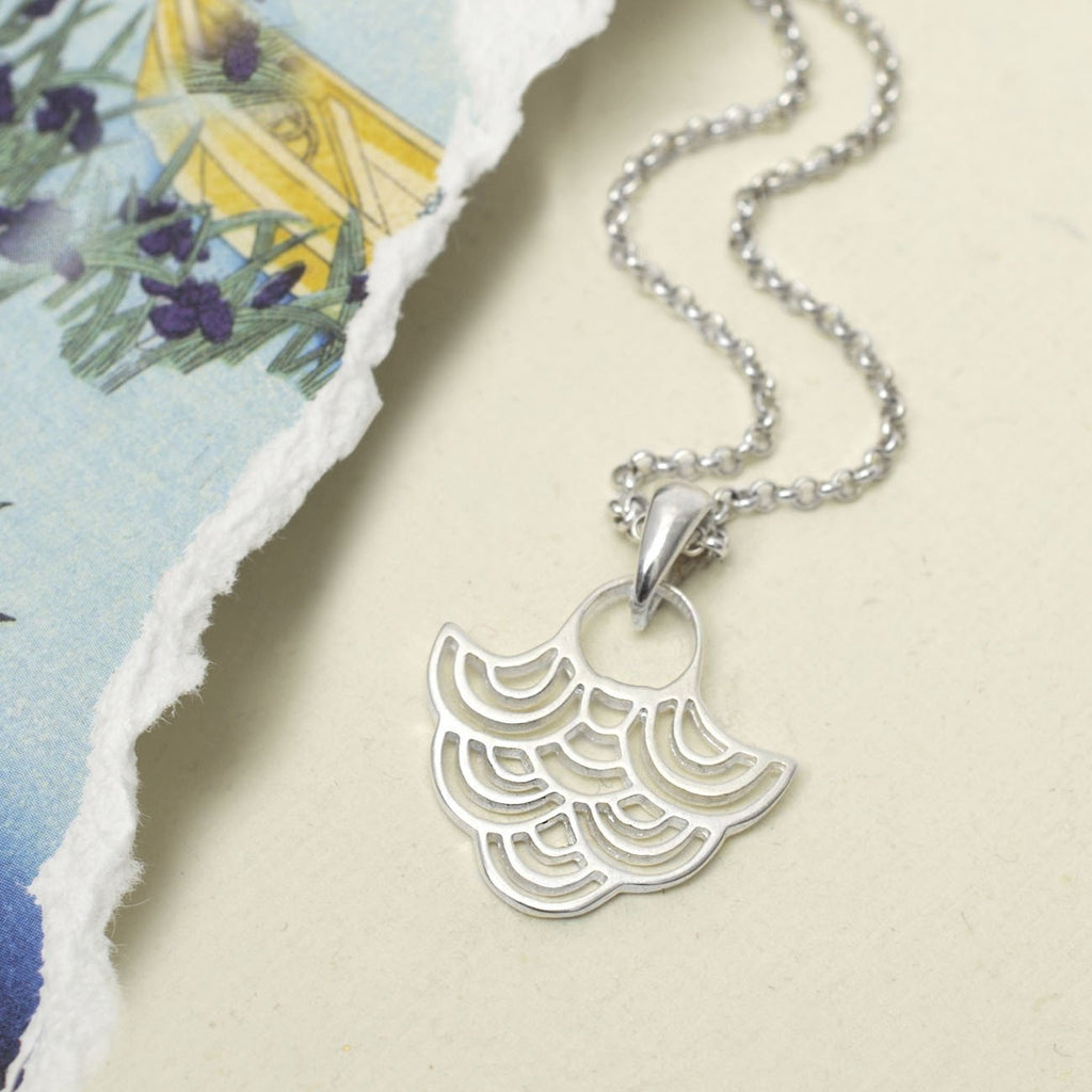 Silver Japanese Fan Necklace