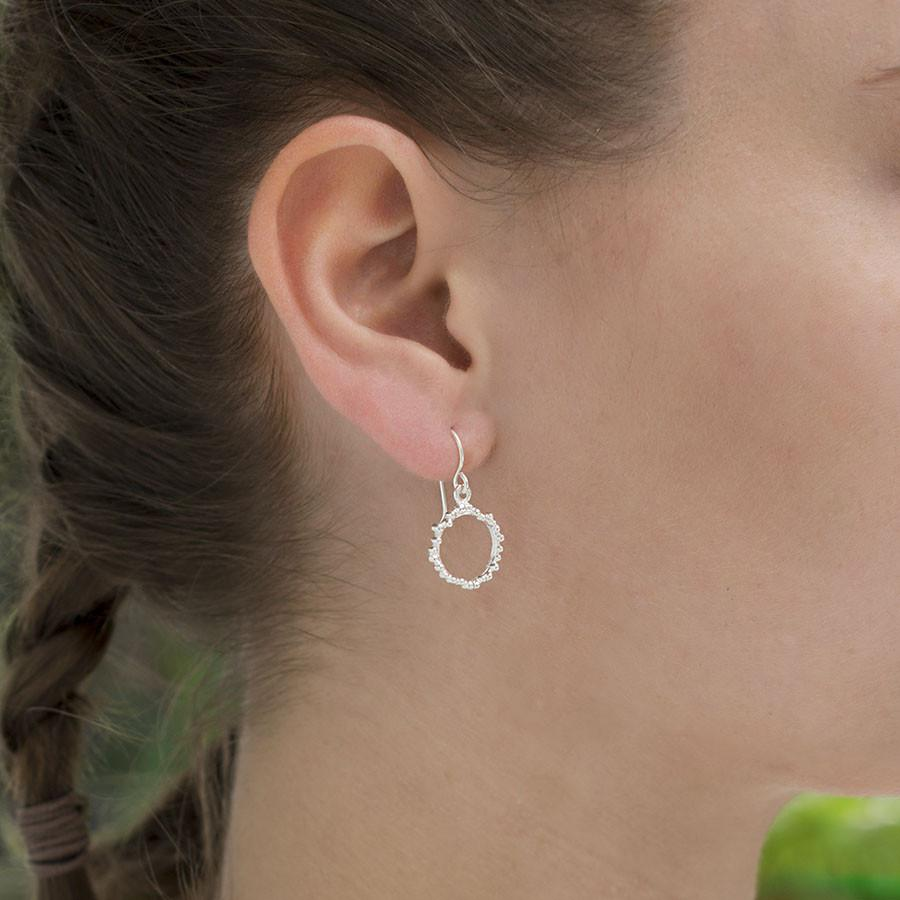 Silver Bubble Circle Earrings