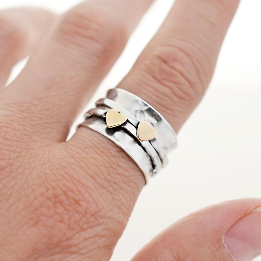 Mixed Metal Spinning Love Ring
