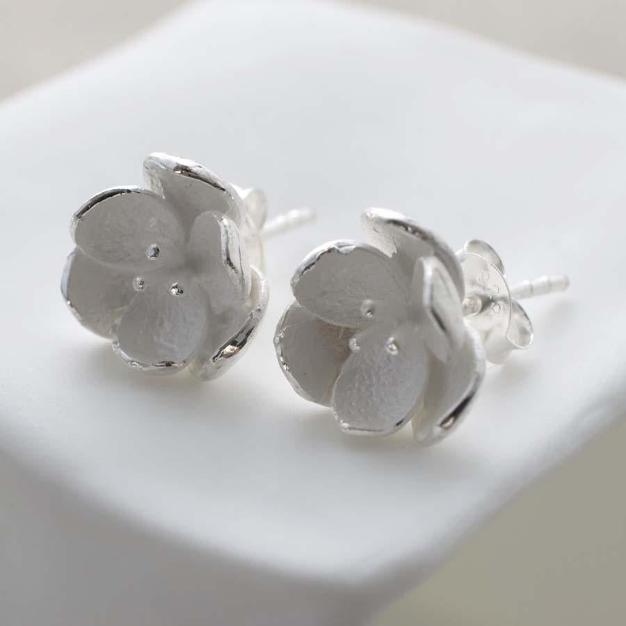 Sterling Silver Blossom Stud Earrings by Martha Jackson
