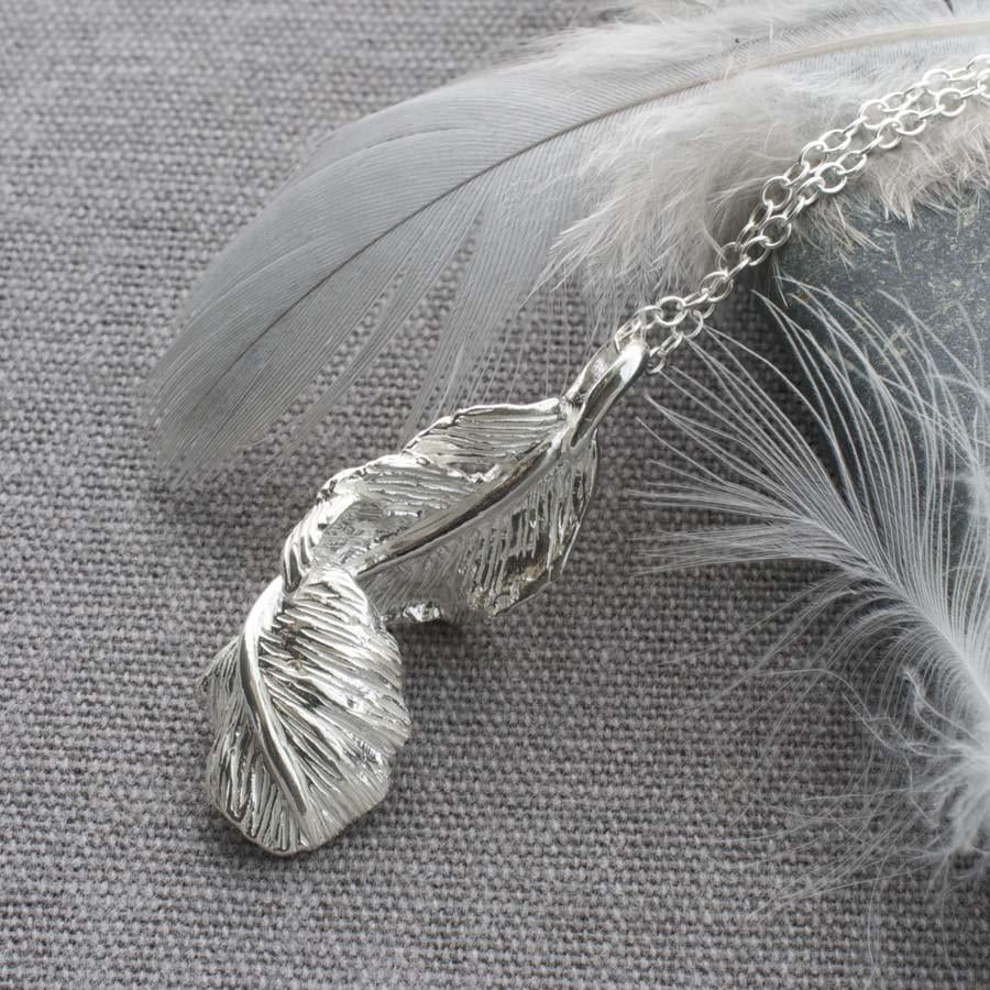 Silver Curled Feather Necklace