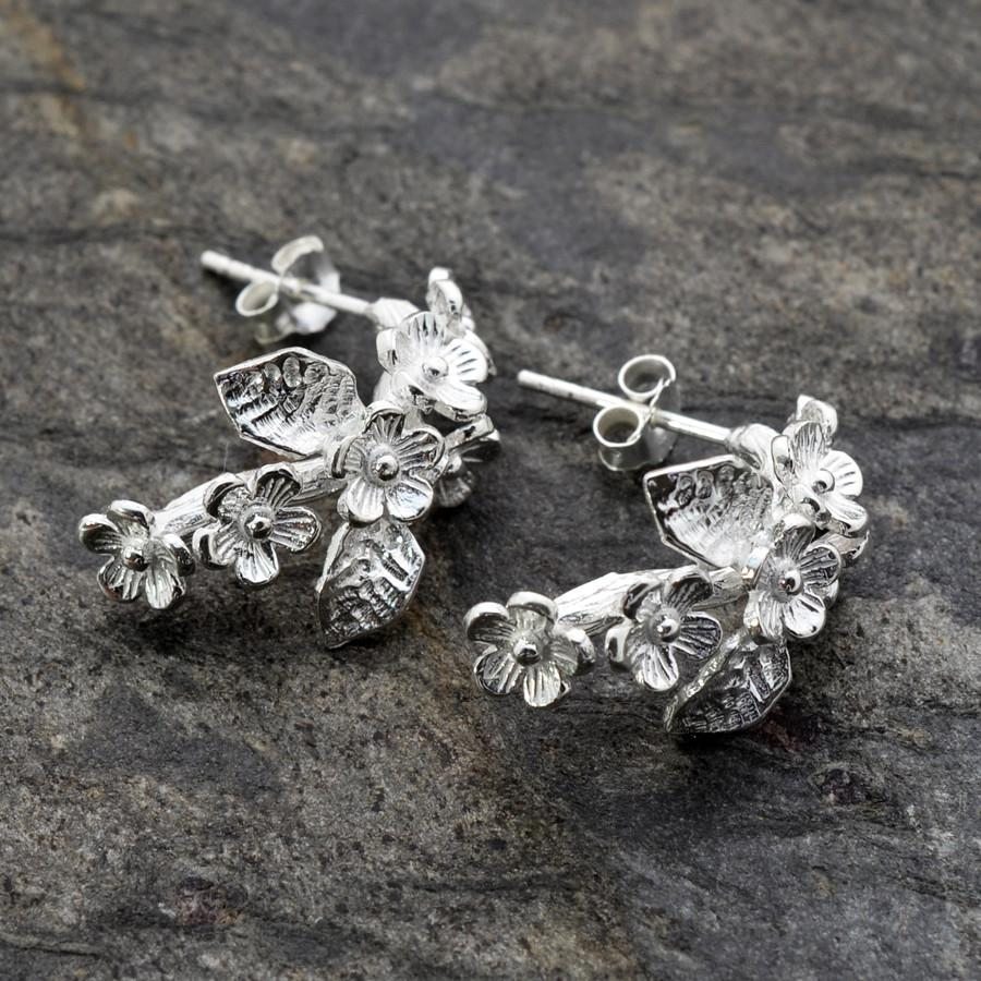 Silver Forget Me Not Earrings by Martha Jackson