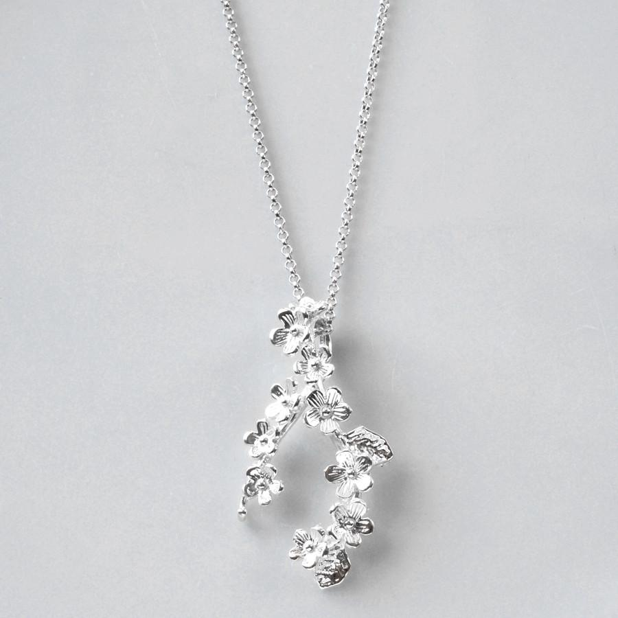 Silver Forget Me Not Cluster Necklace by Martha Jackson