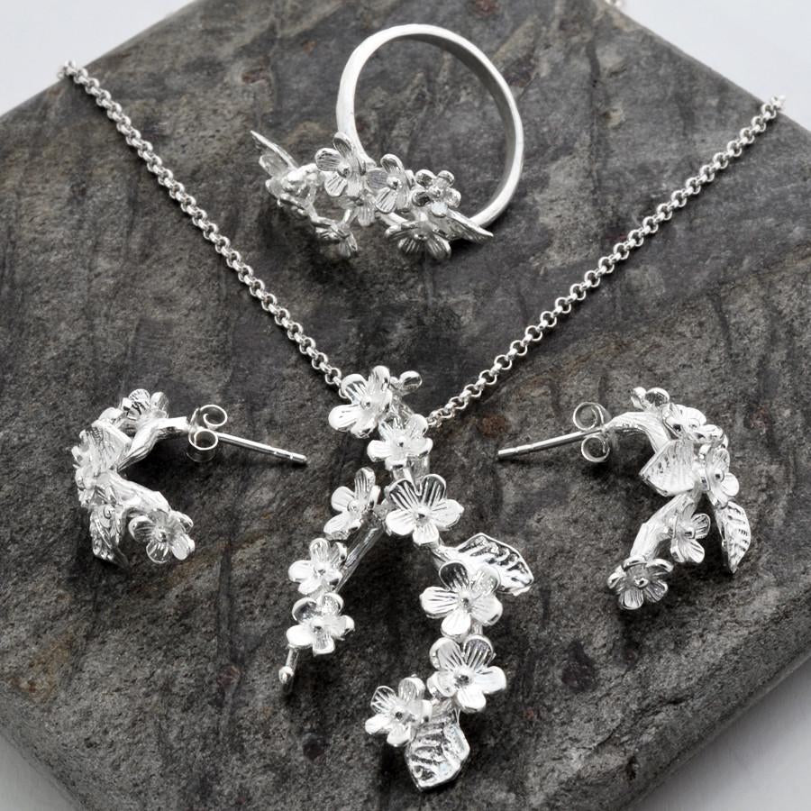 Silver Forget Me Not Jewellery Set by Martha Jackson