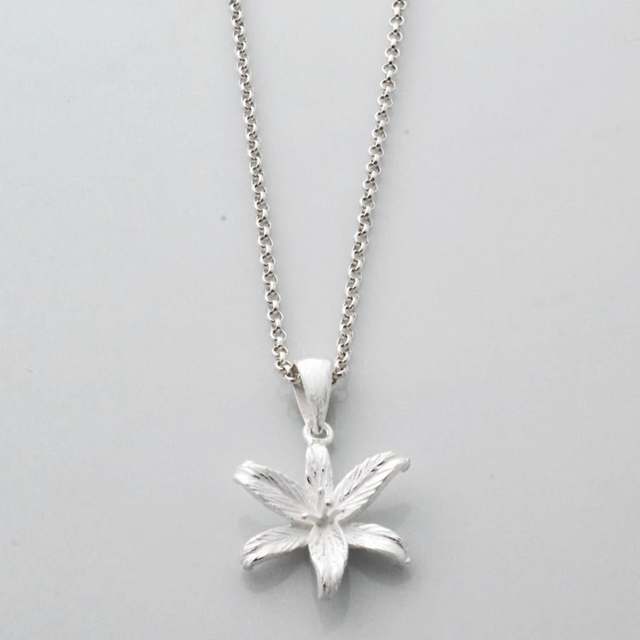 Silver Lily Flower Star Necklace by Martha Jackson