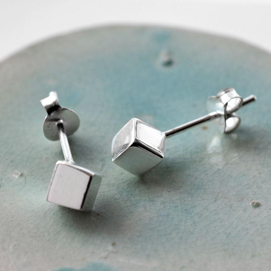 Silver Cube Stud Earrings