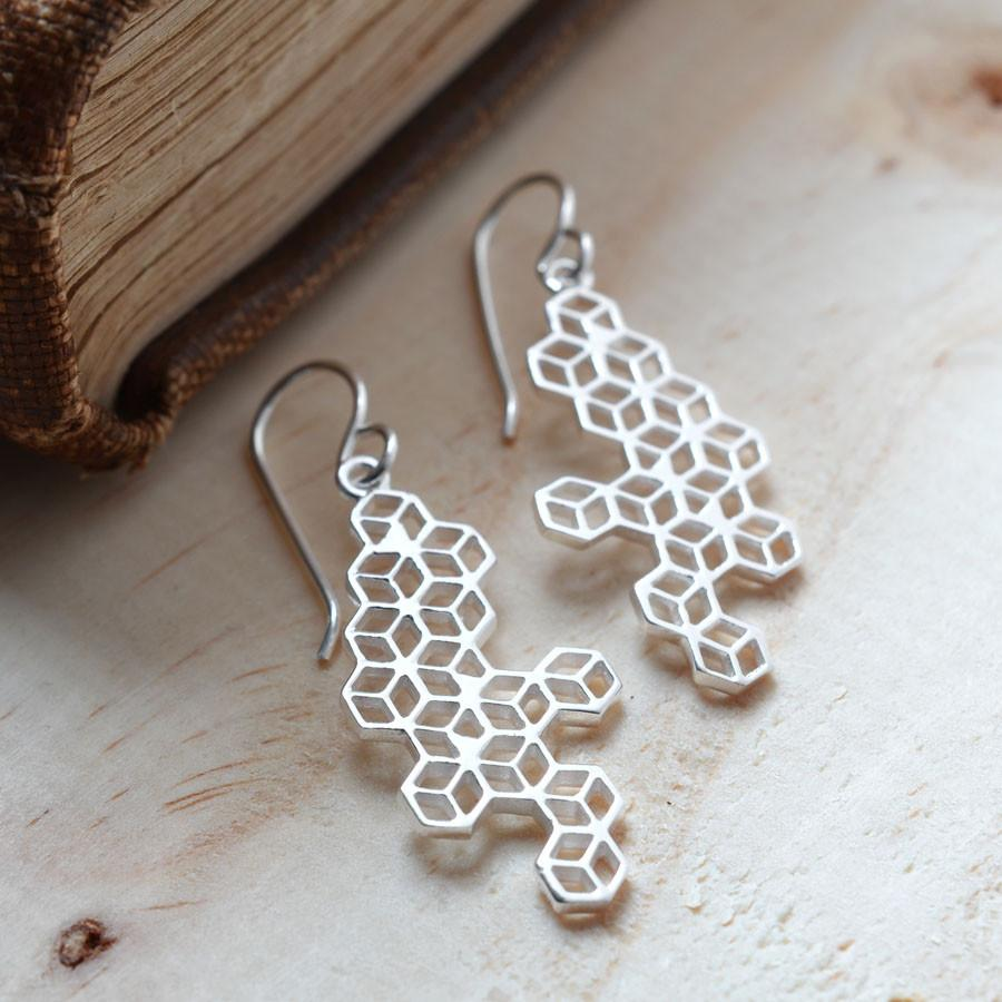Silver Geometric Cube Earrings