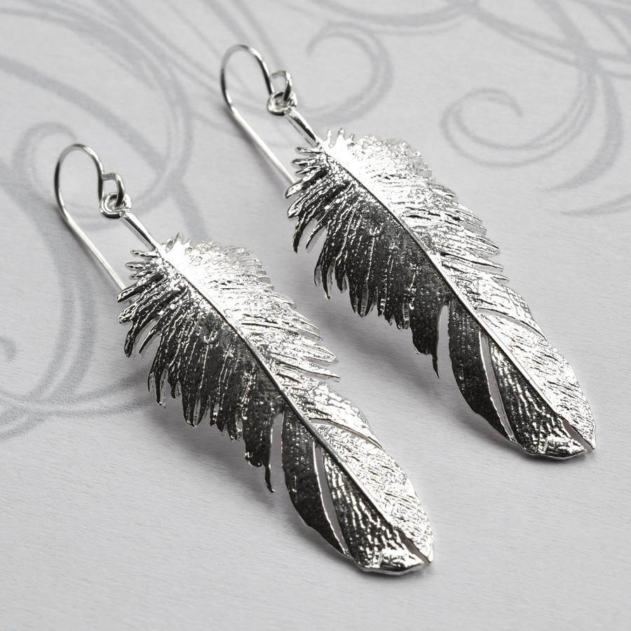 Silver Feather Drop Jewellery by Martha Jackson