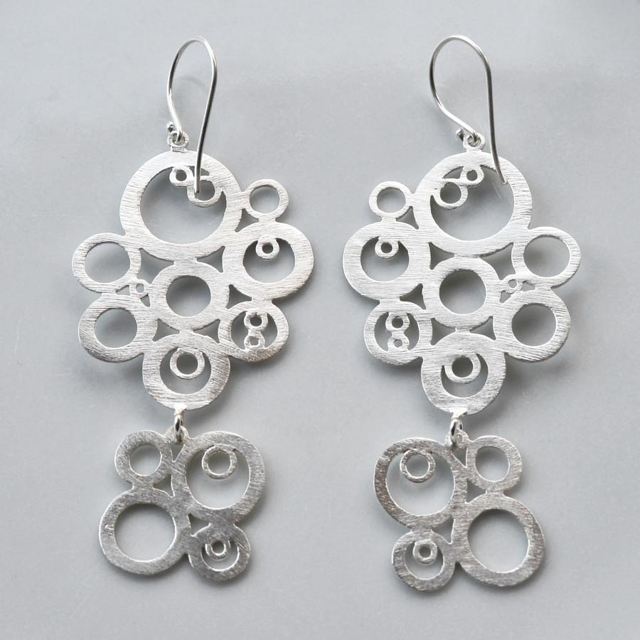 Silver Retro Bubble Earrings