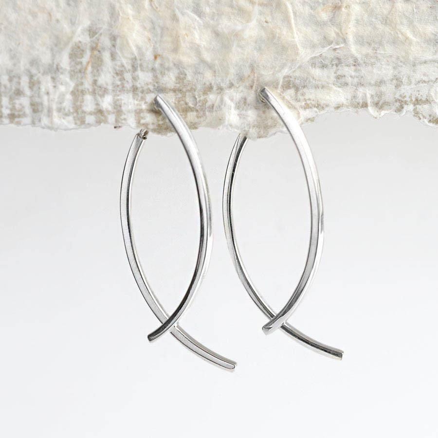 Silver Double Bar Ear Jacket Earrings