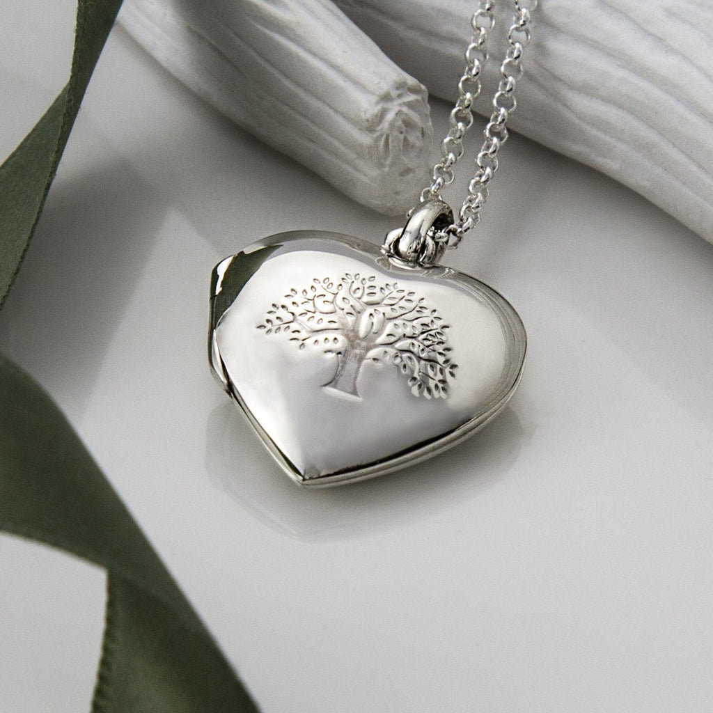 Silver Tree Heart Locket