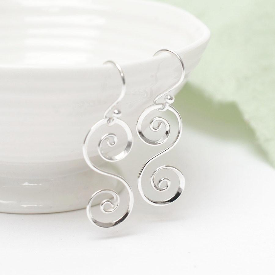 Silver Double Spiral Earrings