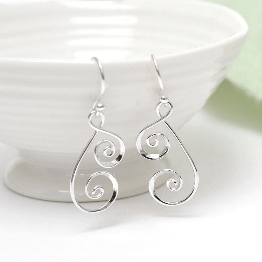 Silver Twirl and Spiral Earrings