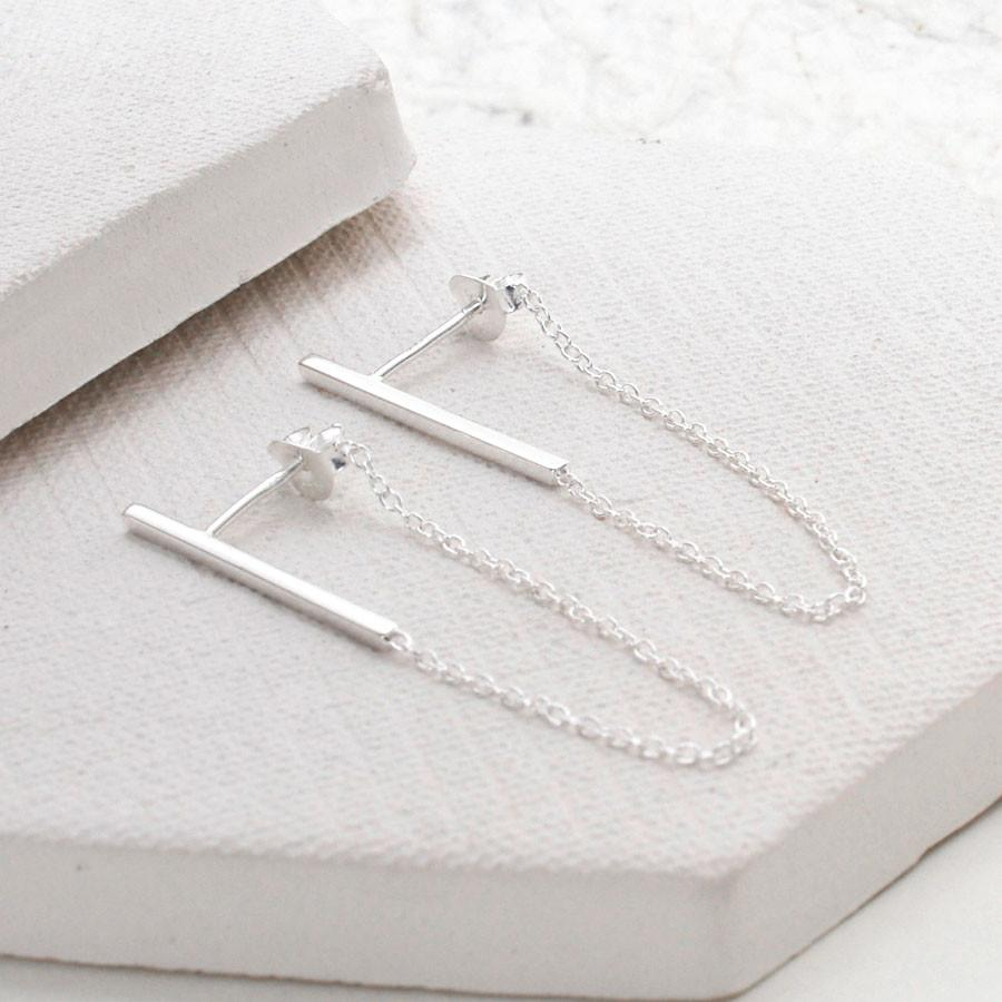 Silver Loop Bar Earrings