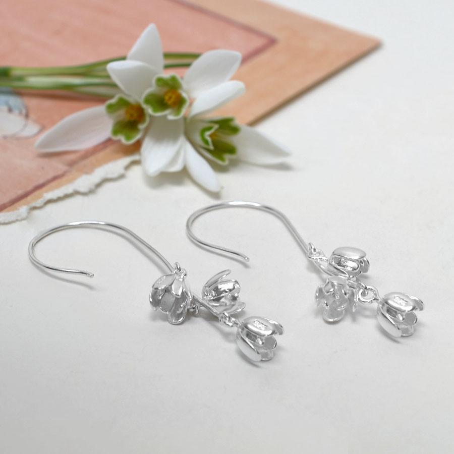 Silver Bell Flower Earrings
