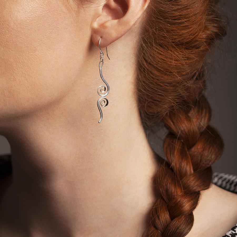 Silver Double Twirl Earrings