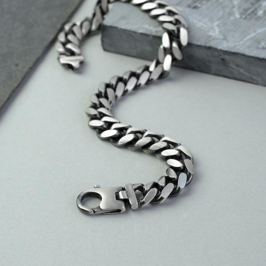 Silver Rounded Heavy Curb Bracelet