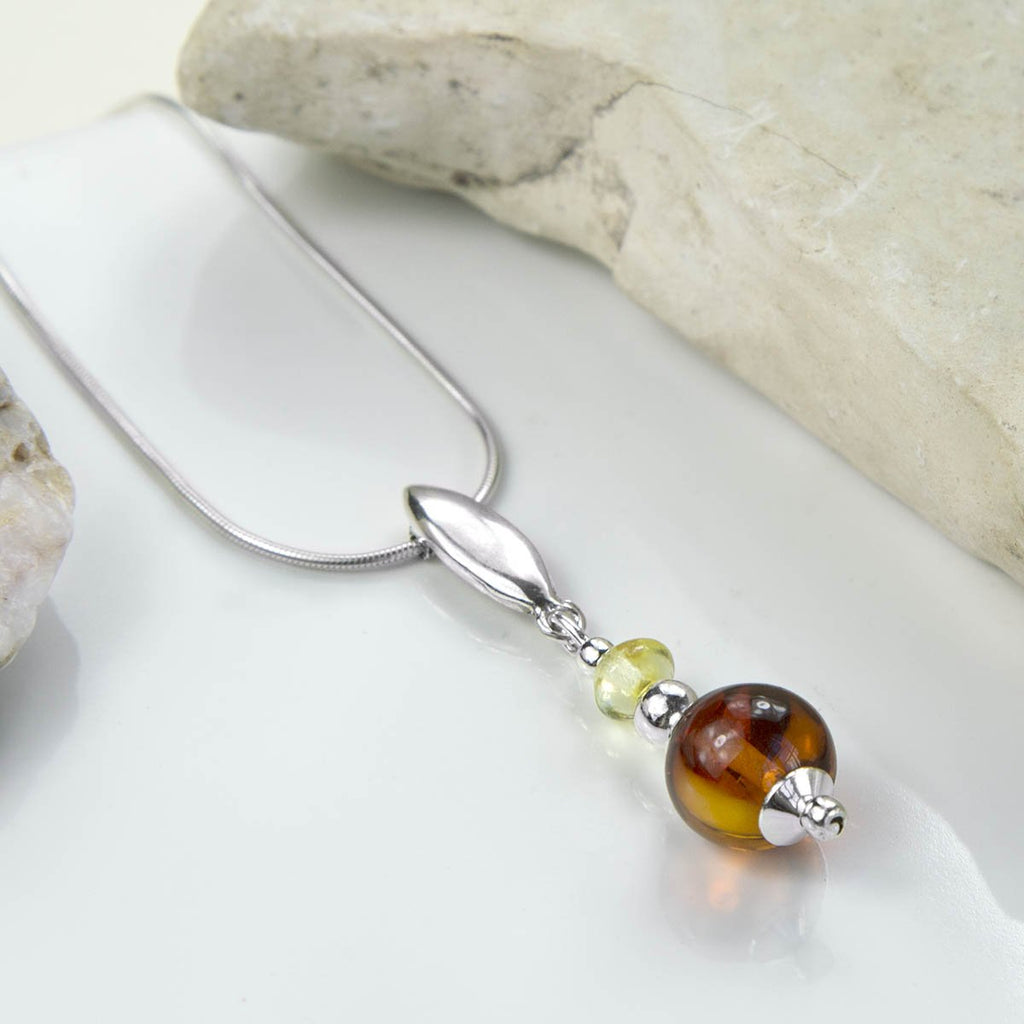 Amber Double Bead Necklace