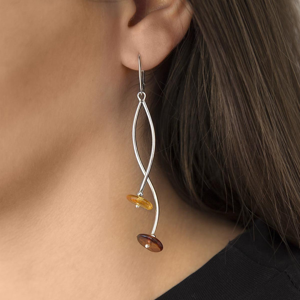 Amber Flowing Drop Earrings