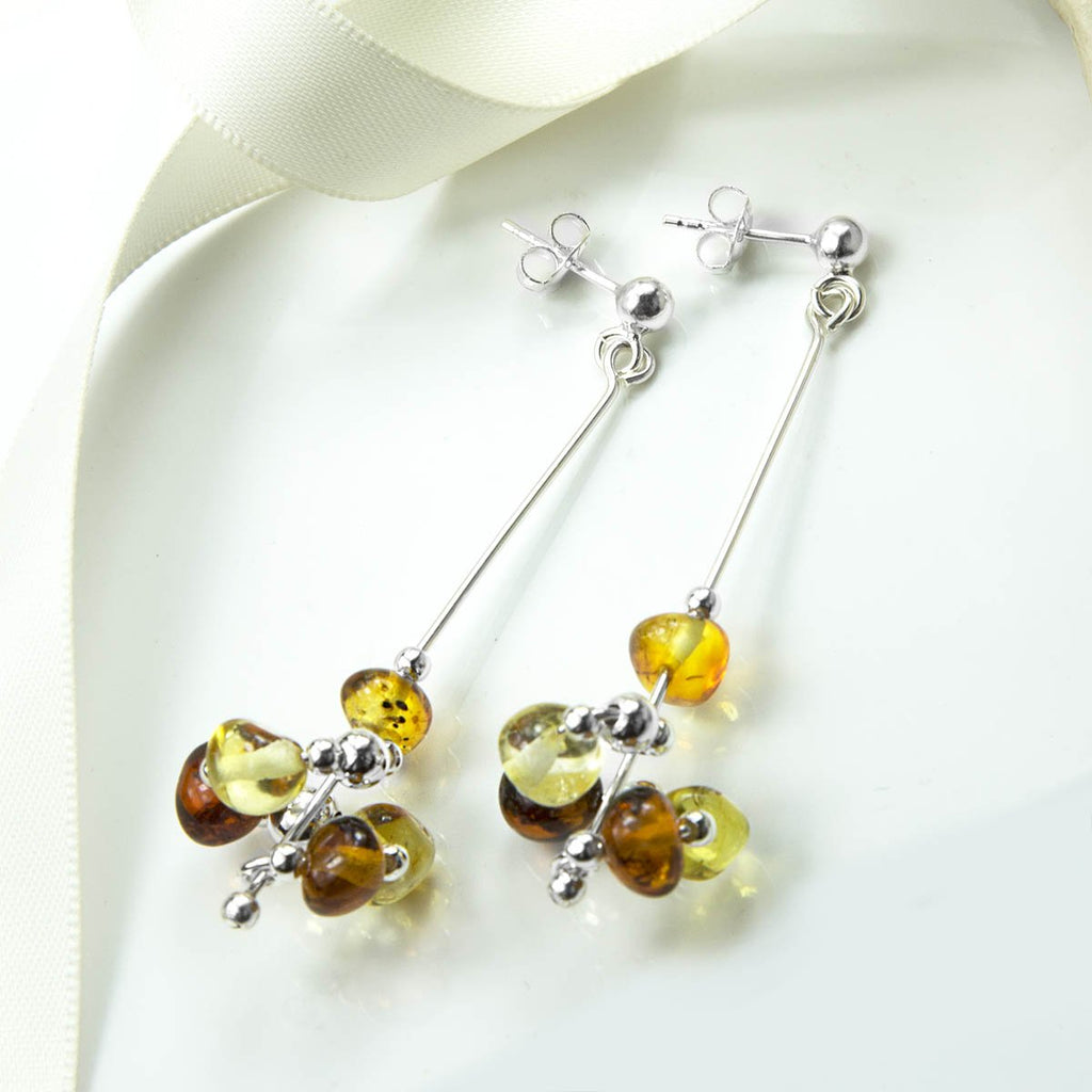Amber Spiral Cluster Drop Earrings