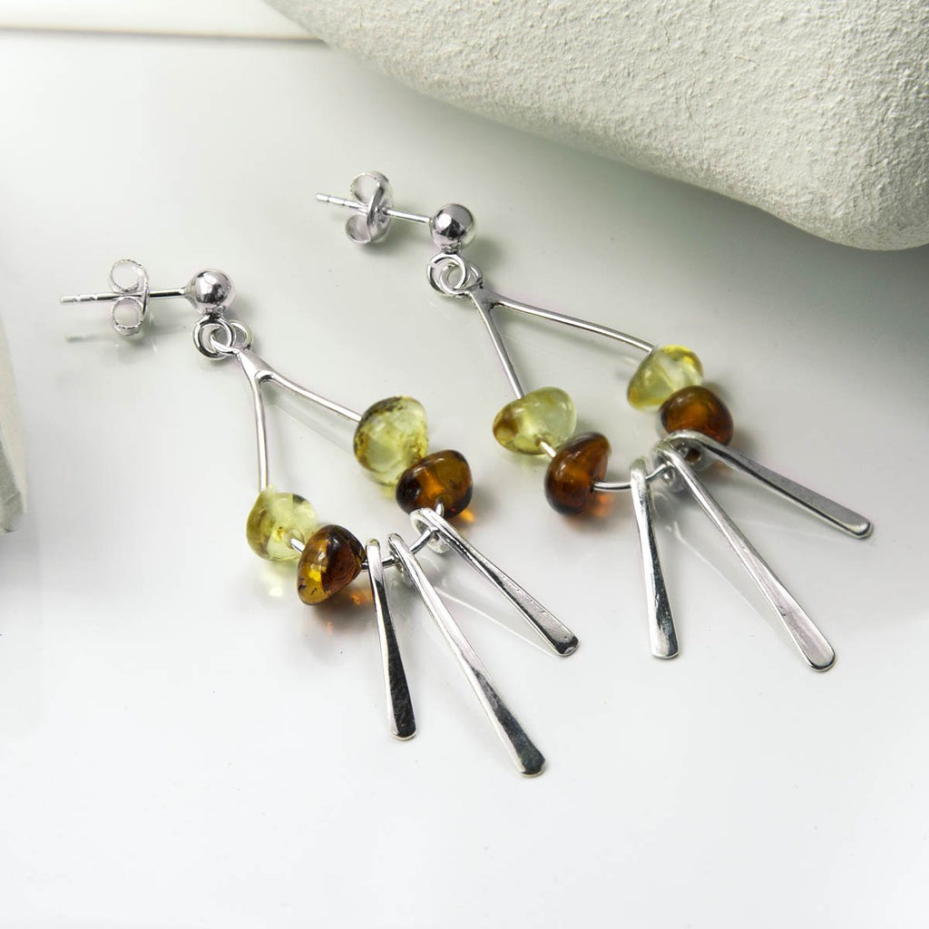 Amber Art Deco Drop Earrings