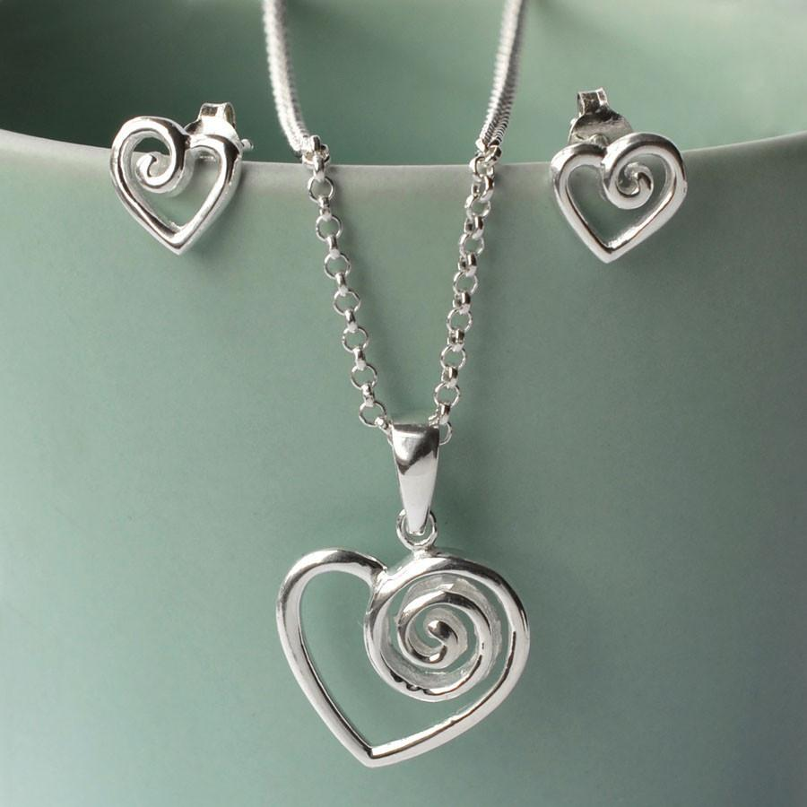 Silver Dainty Spiral Heart Necklace