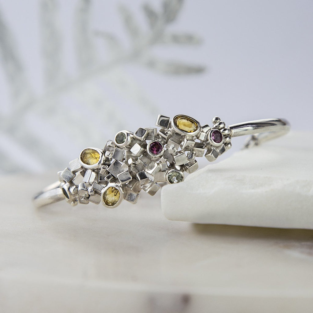 Silver Cubed Citrine and Tourmaline Bangle