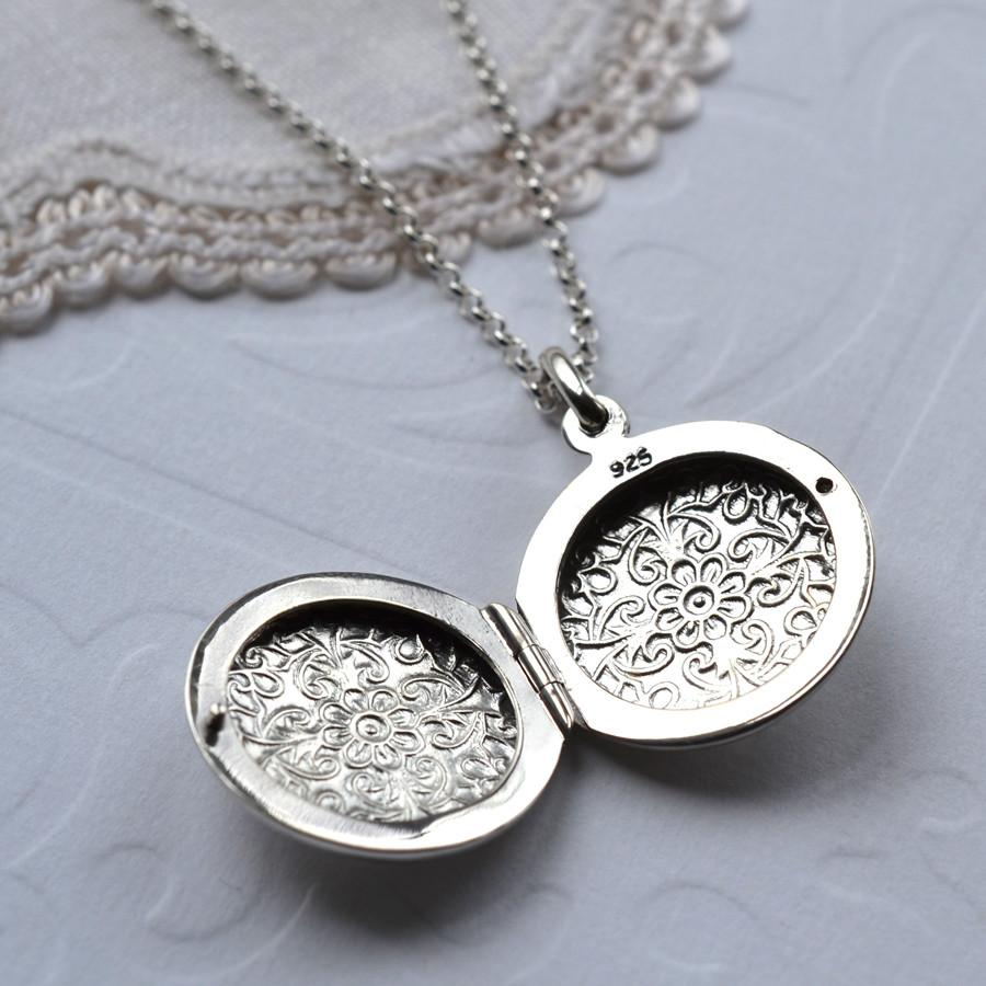 Silver Floral Round Locket - Open