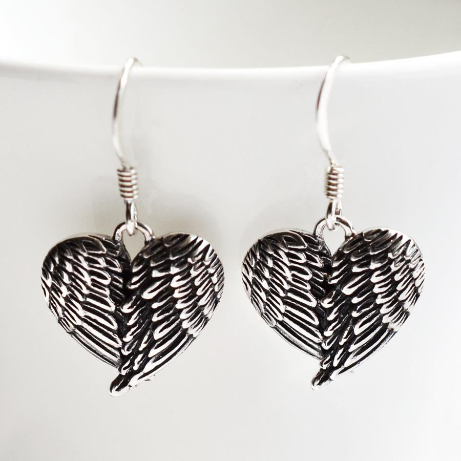 Silver Love Wings Earrings by Martha Jackson