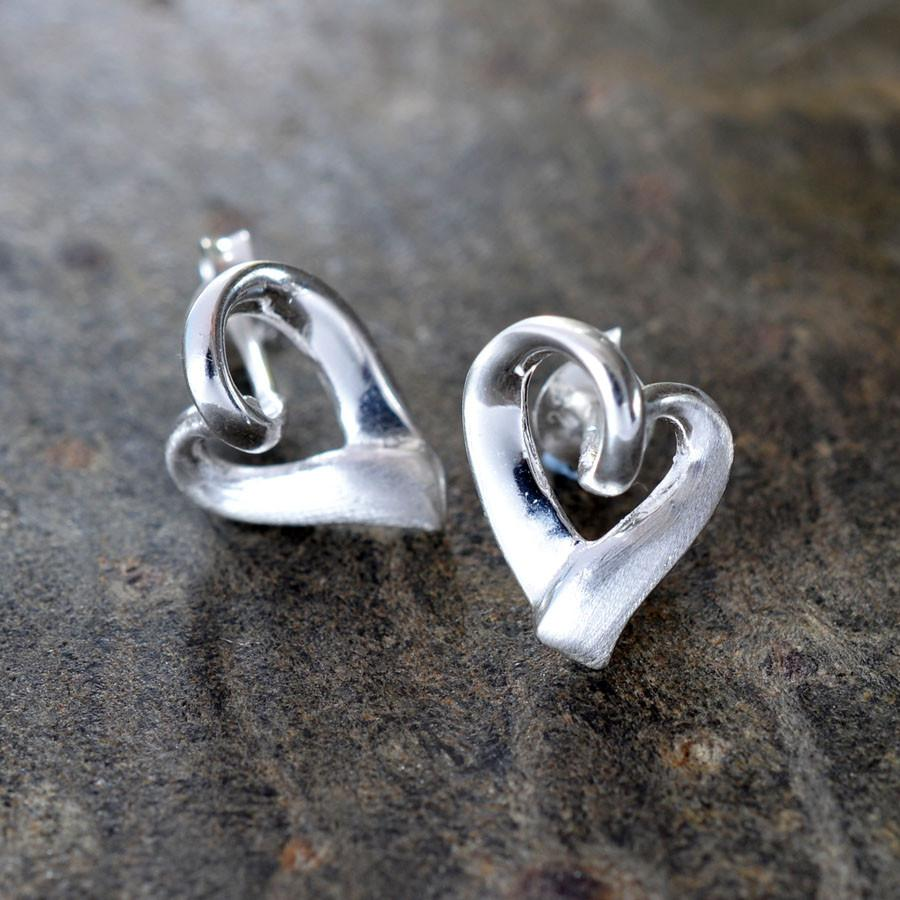 Silver Heart Ribbon Studs