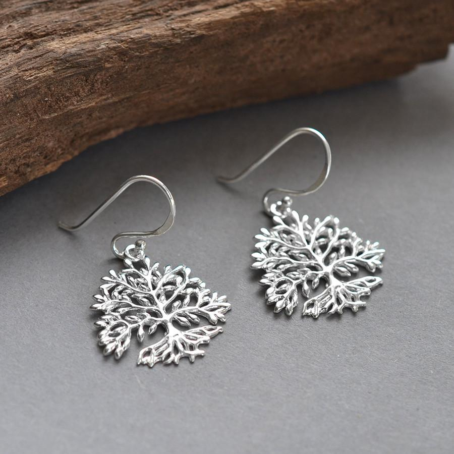 Silver Rooted Tree Earrings
