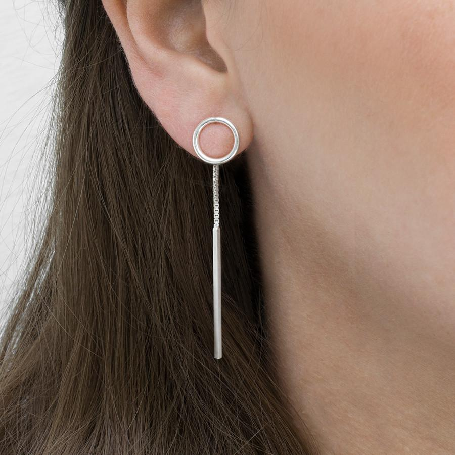 Silver Bar and Circle Two Way Earrings