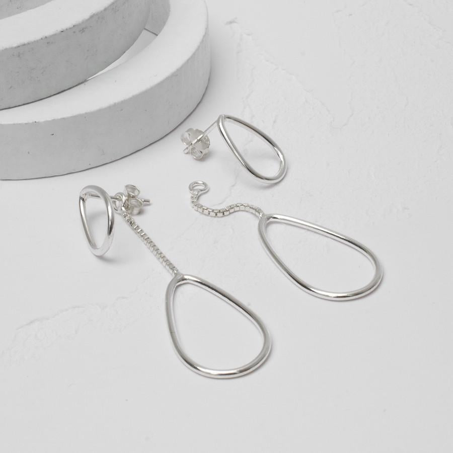 Silver Loops Two Way Earrings