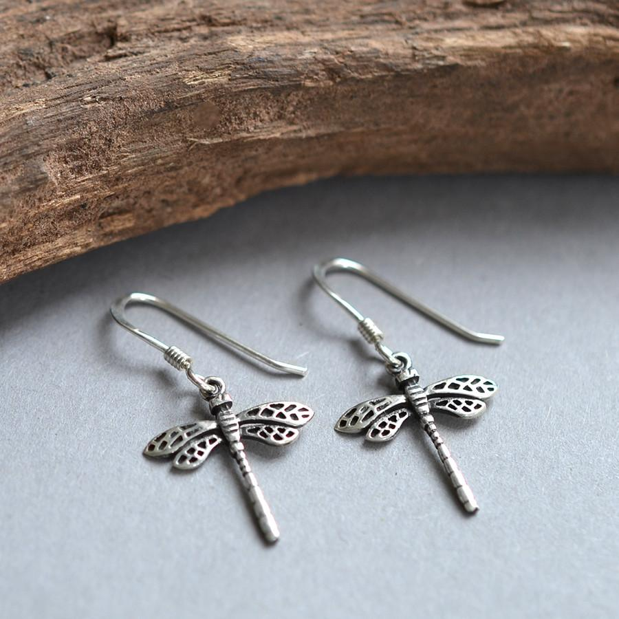 Silver Small Dragonfly Earrings