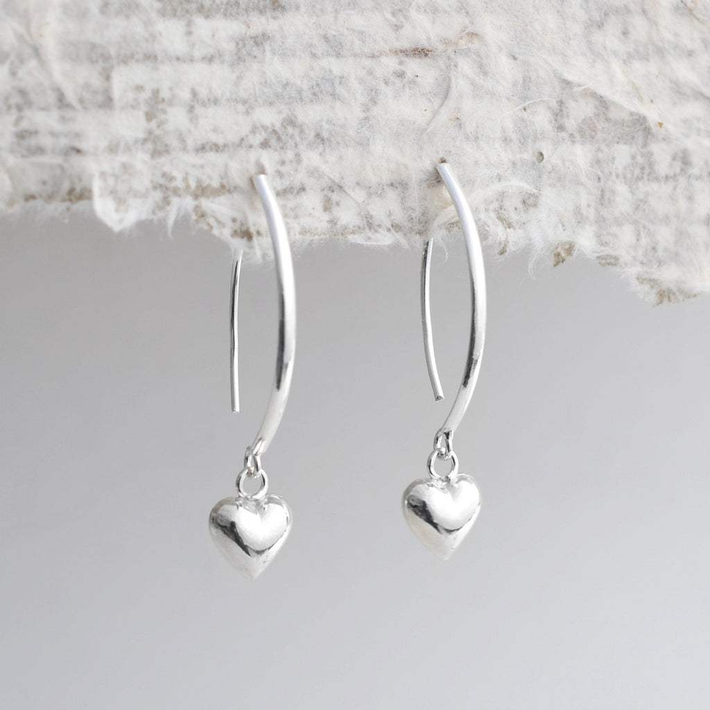 Silver Heart Bar Earrings